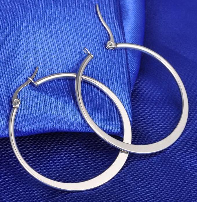 Серьги-обручи стальные 25 мм