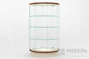 Восьмигранная музейная витрина с полками