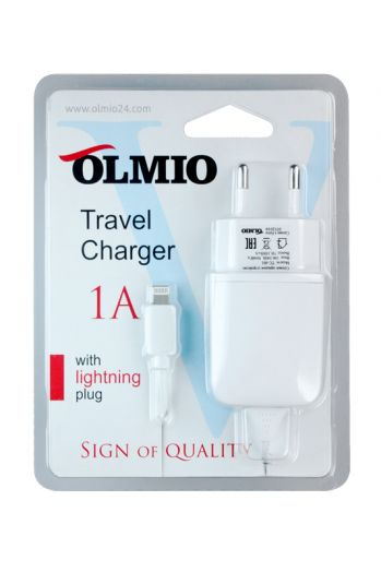 Сетевое зарядное устройство 8-pin для iPod/iPhone/iPad, 1А, белый, OLMIO