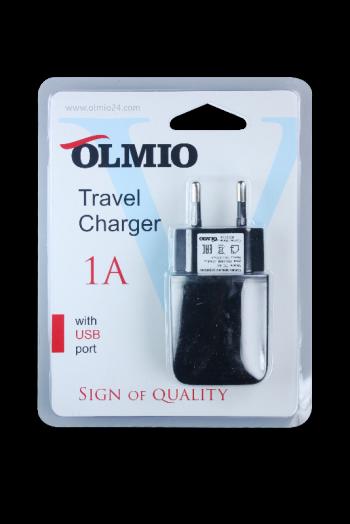 Сетевое зарядное устройство 1 USB, 1А, черный, OLMIO