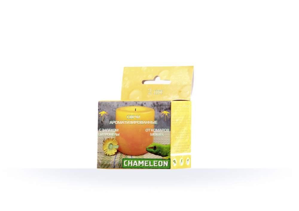 Свечи Chameleon ароматизированные от комаров и мошек с запахом цитронелы 2 шт.