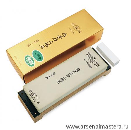 Заточной абразив 8000 Suehiro 206 х 73 х 23 мм на подставке, с нагурой / бамбуковый цвет Suehiro М00014379