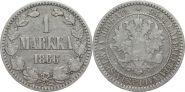Русская Финляндия 1 марка 1866 года S (946)