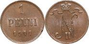 Русская Финляндия 1 пенни 1911 года (2074)
