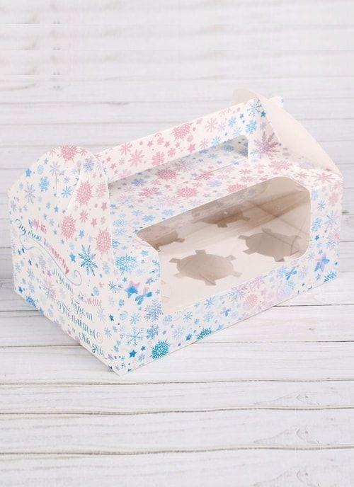 """Коробочка для капкейков 6шт """"С добрыми пожеланиями"""", 24 х 16 х 10 см"""