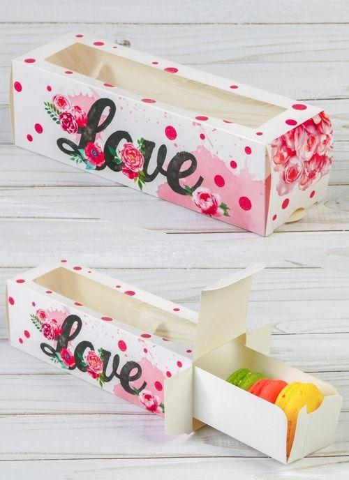 """Коробочка для макарун """"LOVE"""", 18 х 5,5 х 5,5 см"""