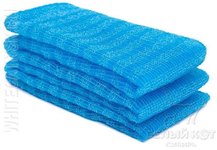 Массажная мочалка жёсткая голубая 28 х 100 см
