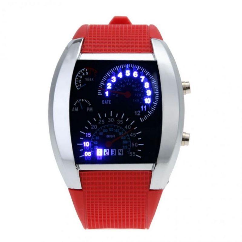 Часы Наручные Спидометр, Красный Ремешок