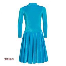 Бархатное платье для бальных танцев бирюзовое