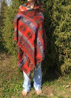 Непальский теплый палантин плед красного цвета. Купить в Москве в интернет магазине