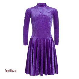 Бархатное платье для бальных танцев сиреневое