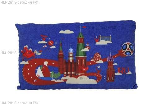 FIFA-2018 плюш.подушка с принтом прямоугольная 40Х29 см синяя