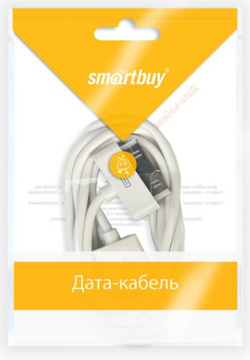 Шнур iPhone 4 - USB Smartbuy белый (iK-412)