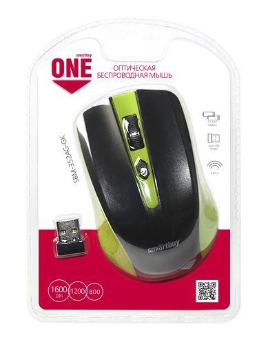 Мышь беспроводная Smartbuy ONE 352 зелено-черная
