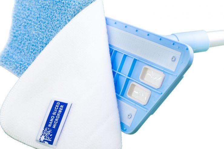 Швабра Eco Standart с 3-мя насадками голубая