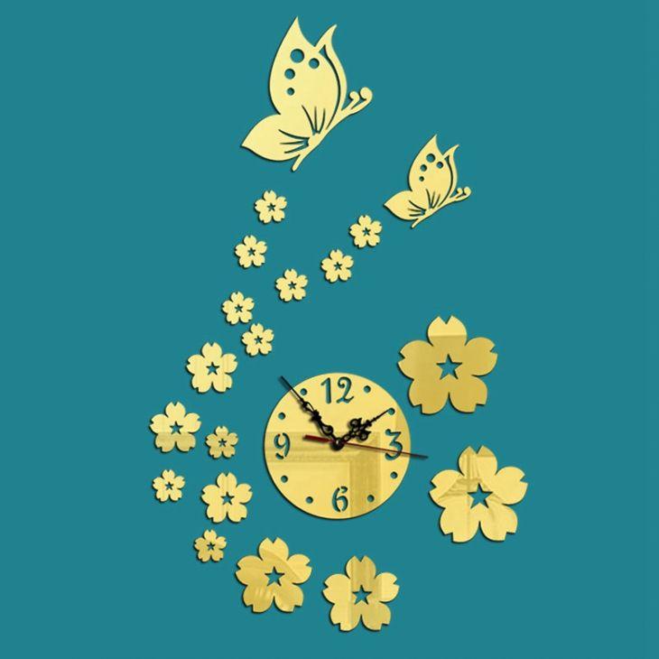 Часы-аппликация зеркальные «Бабочки»