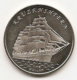 Знаменитые Парусники   Набор монет 1 доллар Острова Гилберта 2018 (7 серия ) Новинка!