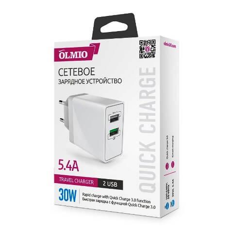 Сетевое зарядное устройство (адаптер питания) Olmio Quick Charge 3.0, 30W на 2 USB-разъема
