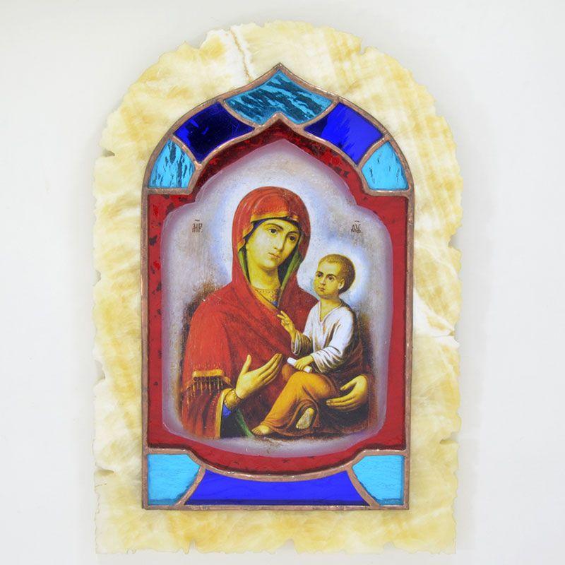 """Икона-витраж """"Богородица Тихвинская"""" в ониксовом изразце"""