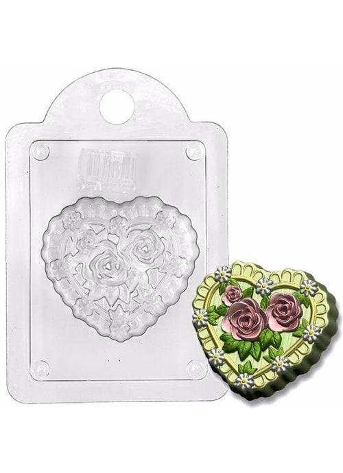 """Пластиковая форма """"Сердце в розах"""""""