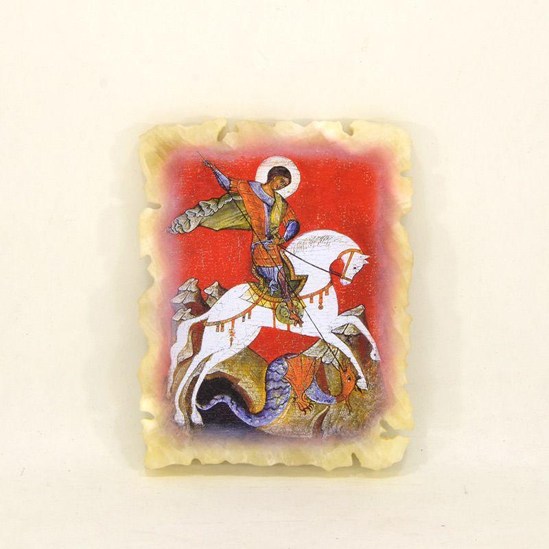 """Икона маленькая """"Святой Георгий"""" на ониксе"""