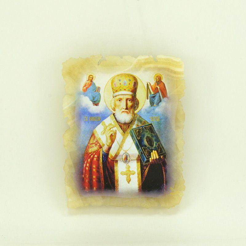 """Икона маленькая """"Святой Николай Чудотворец"""" на ониксе"""