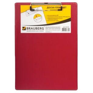 """Доска-планшет BRAUBERG """"NUMBER ONE A4"""", с верхним прижимом, А4, 22,8х31,8 см, картон/ПВХ, бордовая, 232219"""
