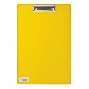 """Доска-планшет BRAUBERG """"Comfort"""", с верхним прижимом, А4, 23х35 см, картон/ПВХ, Россия, желтая, 222662"""