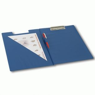 Папка-планшет BRAUBERG, с верхним прижимом и крышкой, А4, картон/ПВХ, Россия, синяя, двойной срок службы, 221489