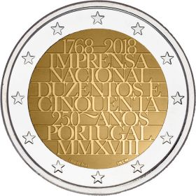 250 лет Монетному двору 2 евро  Португалия 2018