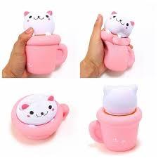 сквиши антистресс кошка в чашке купить недорого
