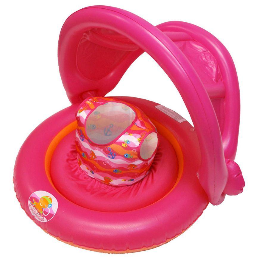 Универсальный надувной круг с навесом 2-In-1 Baby Boat (Цвет: Розовый)