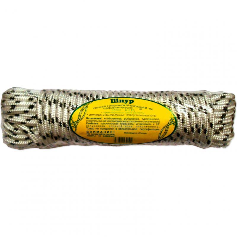 Шнур якорный плетеный 6 мм., 30 м. (пакет)