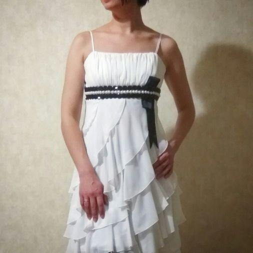 Платье из шифона уникального кроя по спирали