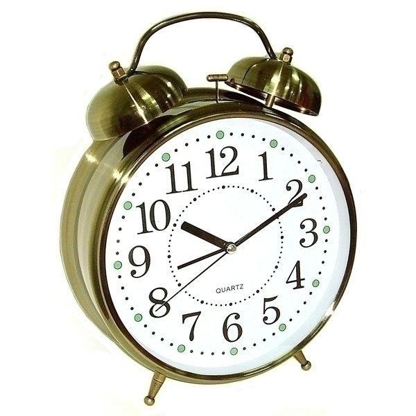 Часы Будильник ГИГАНТ бронзового цвета с подсветкой