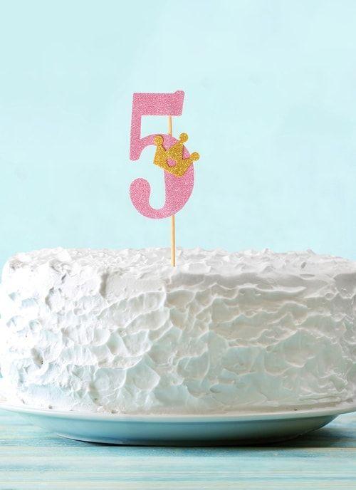 """Топпер """"5"""" с короной, розовый цвет"""