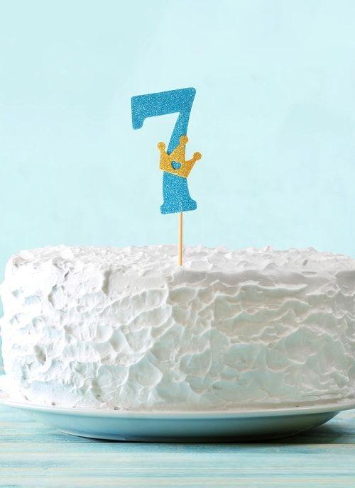 """Топпер """"7"""" с короной, синий цвет"""
