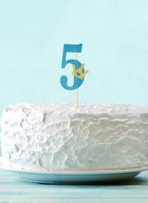 """Топпер """"5"""" с короной, синий цвет"""