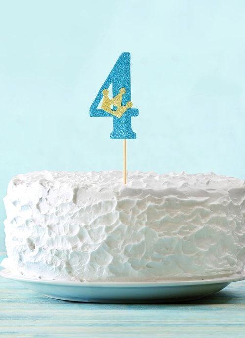 """Топпер """"4"""" с короной, синий цвет"""