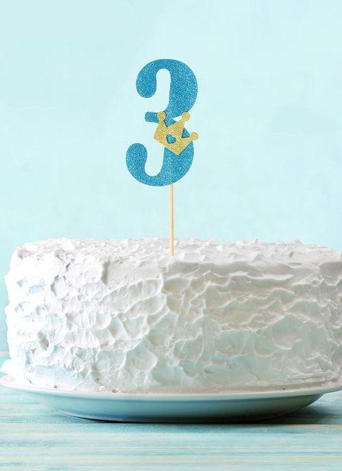 """Топпер """"3"""" с короной, синий цвет"""