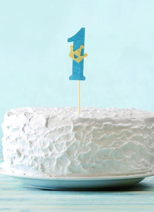 """Топпер """"1"""" с короной, синий цвет"""