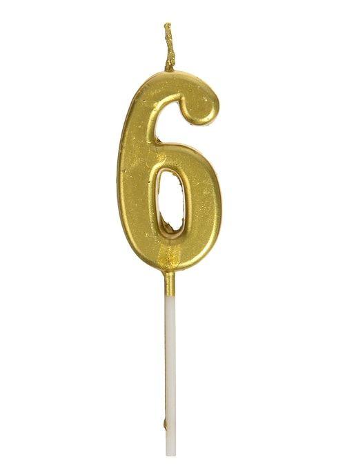Свеча в торт цифра 6, золотой