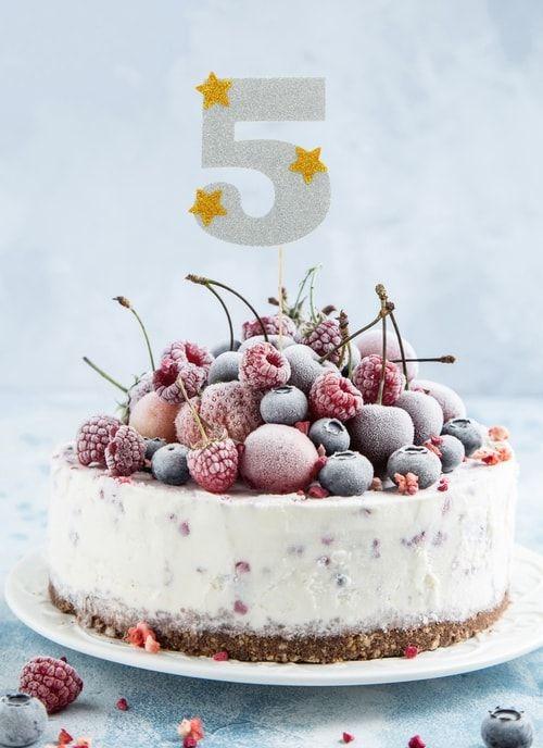 """Топпер для торта """"5"""", цвет серебро"""