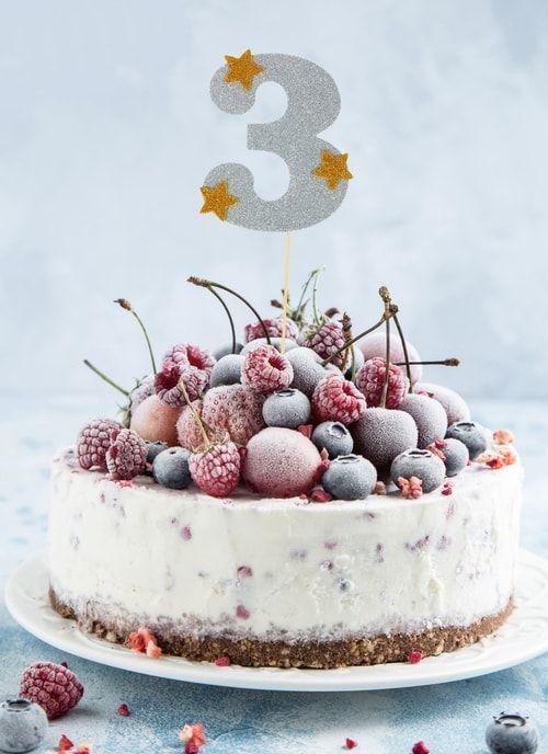 """Топпер для торта """"3"""", цвет серебро"""