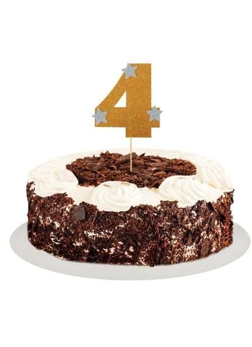 """Топпер для торта """"4"""", цвет золото"""