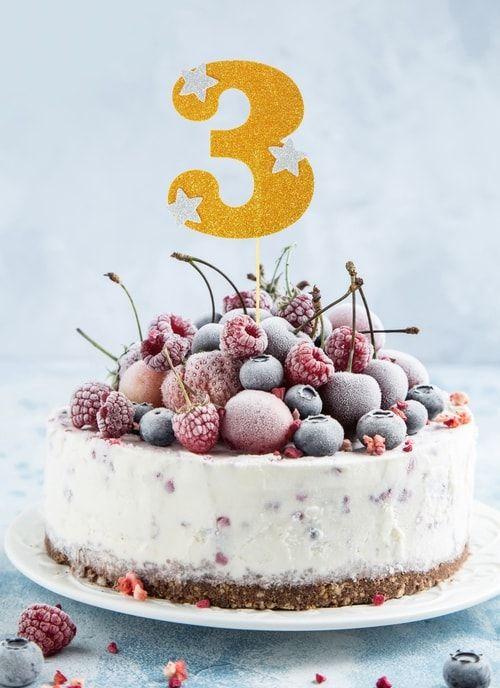 """Топпер для торта """"3"""", цвет золото"""