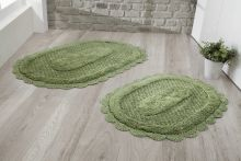 Комплект ковриков для ванной LOKAL 60x100 + 50x70 (т.зеленый) Арт.5097-3