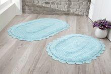 """Комплект ковриков для ванной """"MODALIN"""" кружевной LOKAL 60x100 + 50x70 см(бирюзовый) Арт.5097-4"""