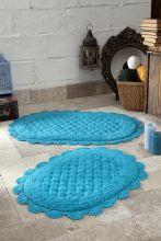 """Комплект ковриков для ванной """"MODALIN"""" кружевной MERIT 45x60 + 50x80 см(бирюзовый) Арт.5098-2"""