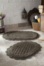 """Комплект ковриков для ванной """"MODALIN"""" кружевной MERIT 45x60 + 50x80 см(т.коричневый) Арт.5098-4"""